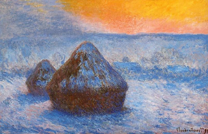Grainstacks at Sunset, Snow Effect. Claude Oscar Monet