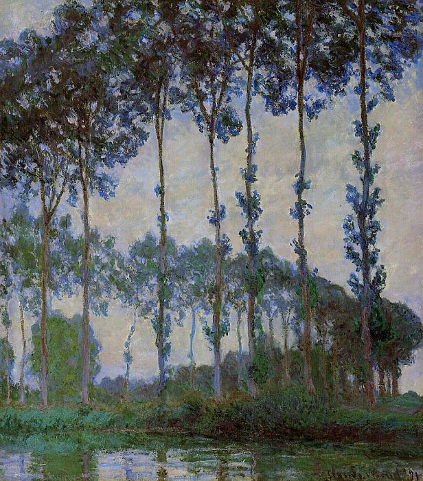 Poplars on the Banks of the River Epte, Overcast Weather. Claude Oscar Monet