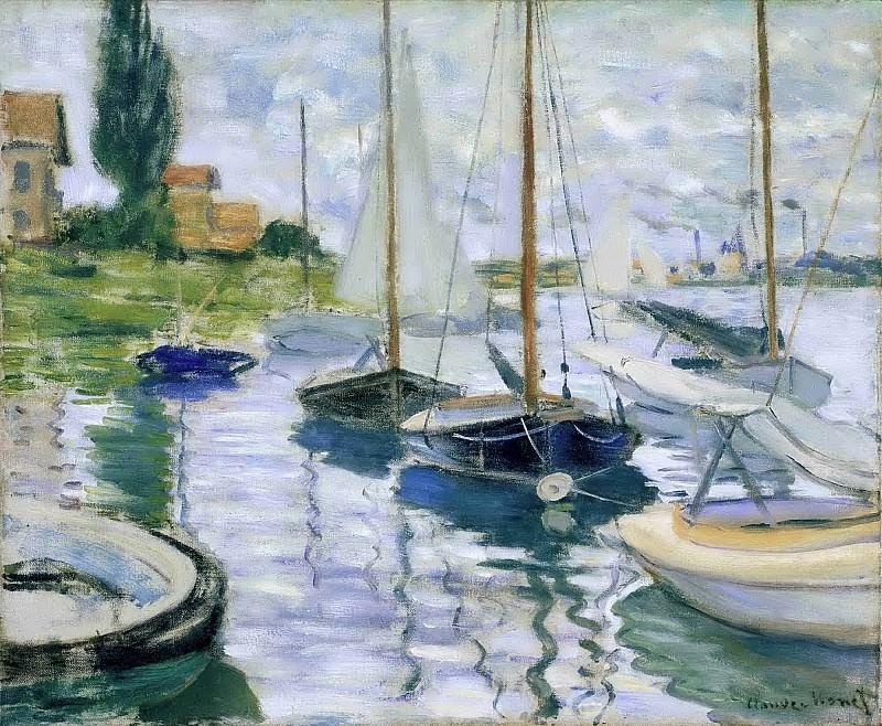 Barques au repos, au Petit Gennevilliers. Claude Oscar Monet