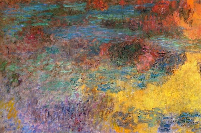 Water Lily Pond, Evening (left panel). Claude Oscar Monet