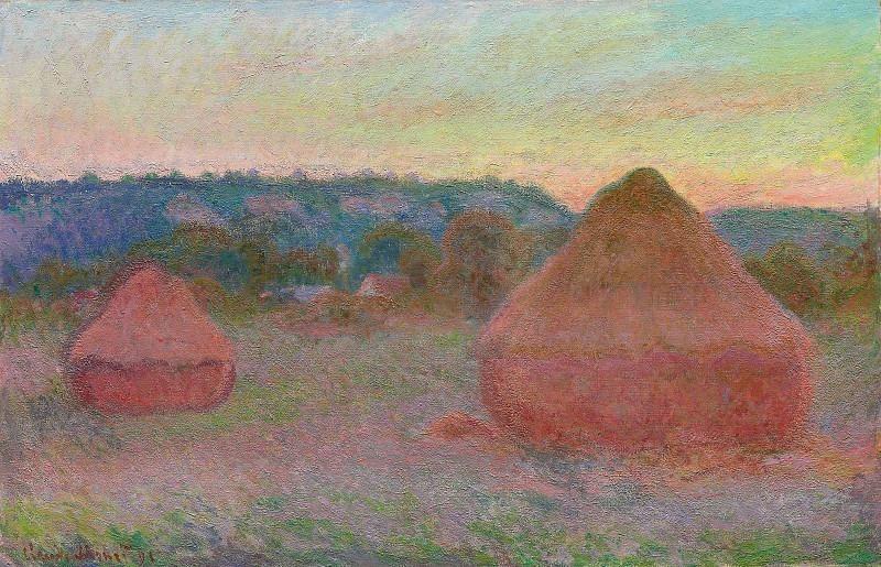 Grainstacks at the End of the Day, Autumn. Claude Oscar Monet