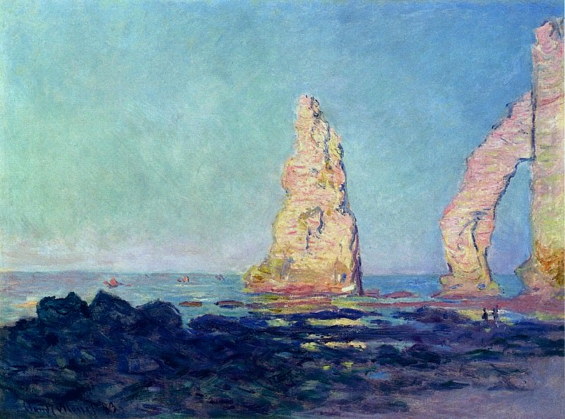 The Needle of Etretat, Low Tide. Claude Oscar Monet