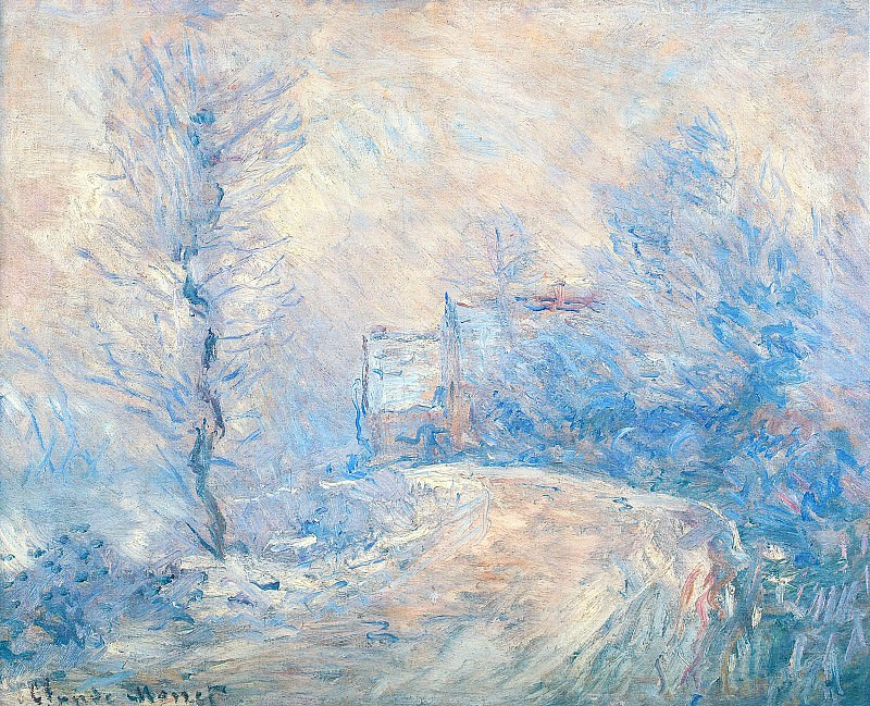 The Entrance to Giverny under the Snow. Клод Оскар Моне