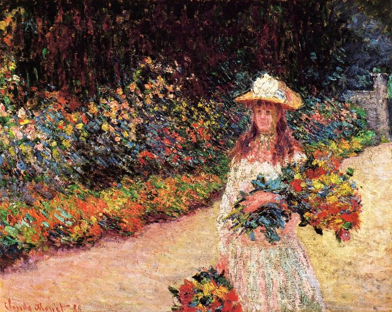 Young Girl in the Garden at Giverny. Claude Oscar Monet