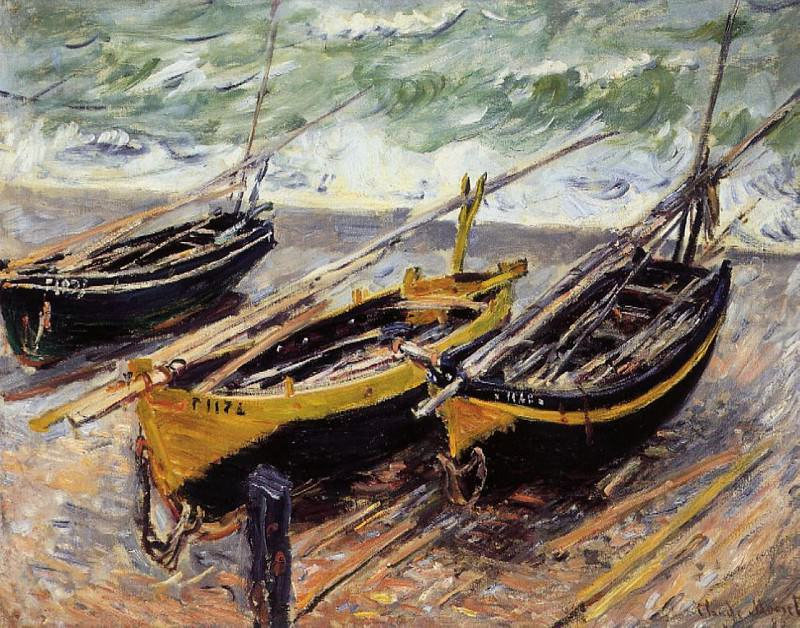 Three Fishing Boats. Claude Oscar Monet