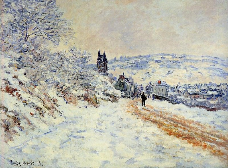 The Road to Vetheuil, Snow Effect. Claude Oscar Monet