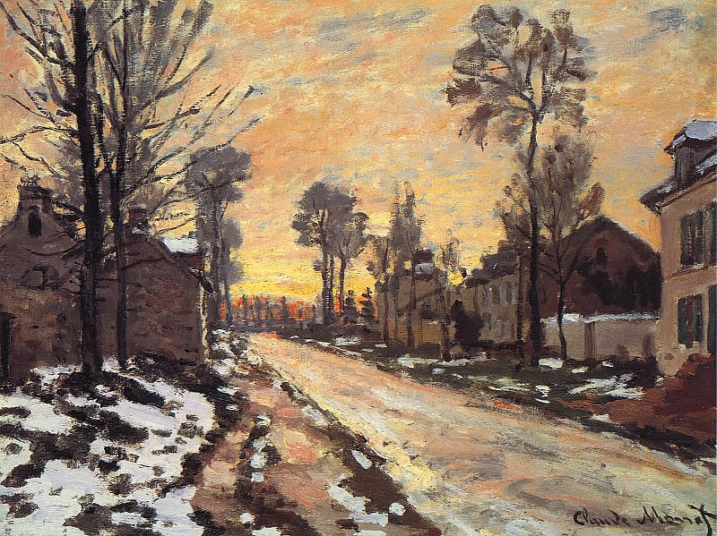 Road at Louveciennes, Melting Snow, Sunset. Claude Oscar Monet