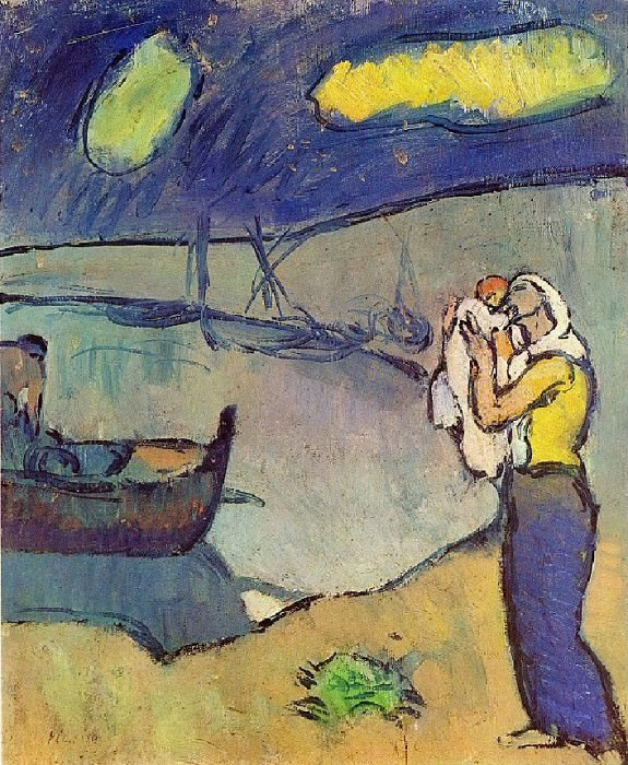1902 MКre et fils sur le rivage. Пабло Пикассо (1881-1973) Период: 1889-1907