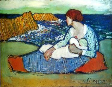 1901 MКre et fille au bord de la mer. Pablo Picasso (1881-1973) Period of creation: 1889-1907