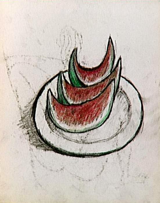 1907 Рtude pour la nature morte (tranches de pastКque sur un plat). Пабло Пикассо (1881-1973) Период: 1889-1907