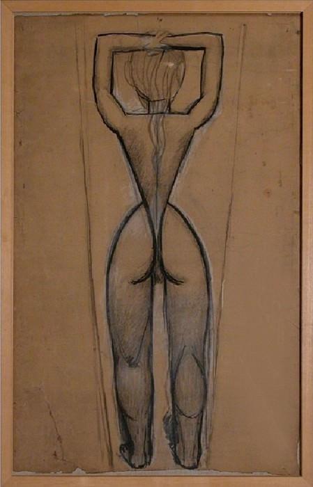 1907 Nu de dos aux bras levВs (Рtude pour Les Demoiselles dAvinyв). Пабло Пикассо (1881-1973) Период: 1889-1907