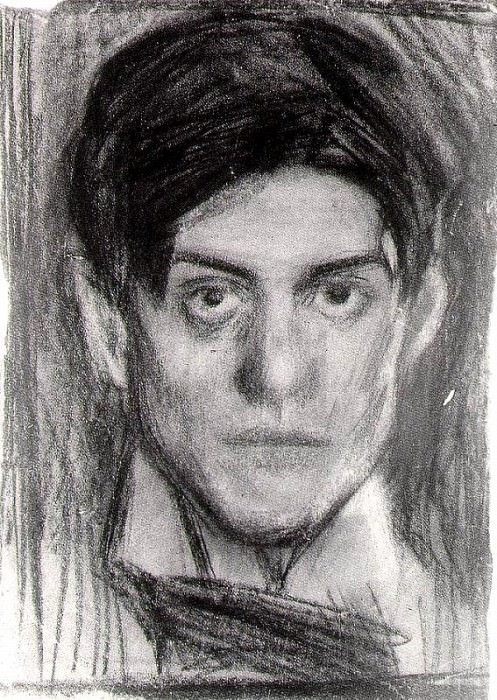 1899-1900 Autoportrait noir et blanc. Pablo Picasso (1881-1973) Period of creation: 1889-1907