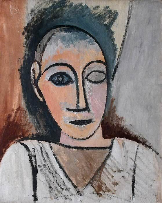 1907 Buste dhomme. Pablo Picasso (1881-1973) Period of creation: 1889-1907 (Tъte р lЬil vide)