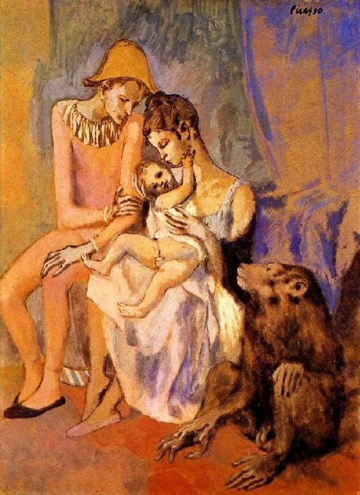 1905 Famille dacrobates avec singe. Пабло Пикассо (1881-1973) Период: 1889-1907