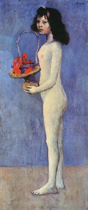 1905 Jeune fille nue avec panier de fleurs. Пабло Пикассо (1881-1973) Период: 1889-1907