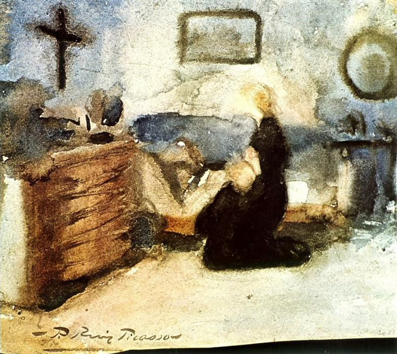 1899 Femme qui prie et enfant. Pablo Picasso (1881-1973) Period of creation: 1889-1907