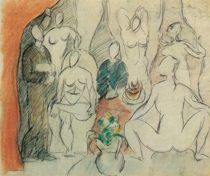 1907 Les Demoiselles Davignon - Esquisse Pour. Pablo Picasso (1881-1973) Period of creation: 1889-1907