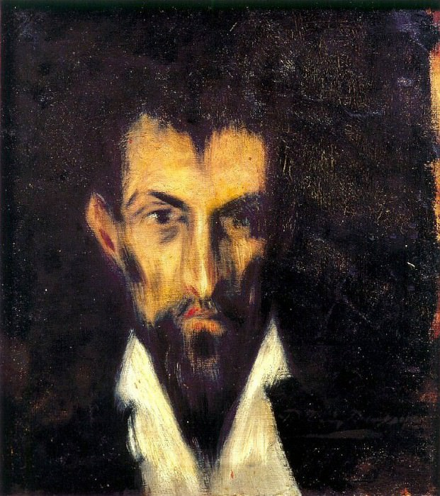 1899 TИte dhomme Е la Greco. Пабло Пикассо (1881-1973) Период: 1889-1907