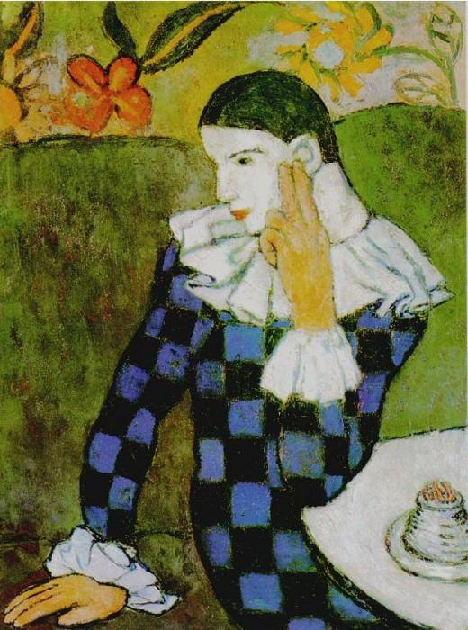 1901 Arlequin accoudВ. Пабло Пикассо (1881-1973) Период: 1889-1907