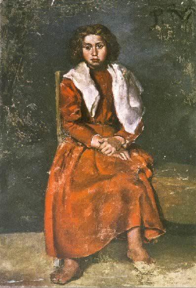 1895 La fillette aux pieds nus. Пабло Пикассо (1881-1973) Период: 1889-1907