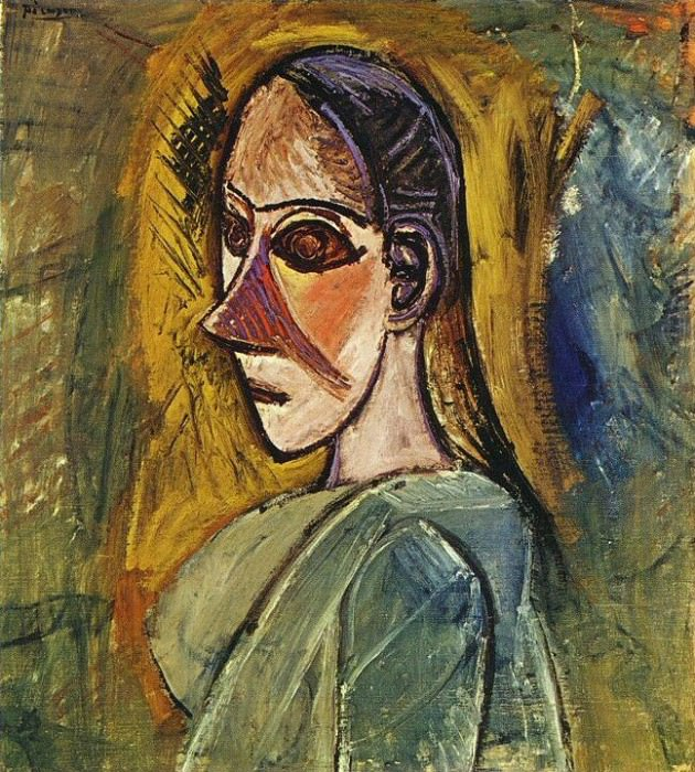 1907 Buste de femme (Рtude pour Les Demoiselles dAvinyв). Пабло Пикассо (1881-1973) Период: 1889-1907