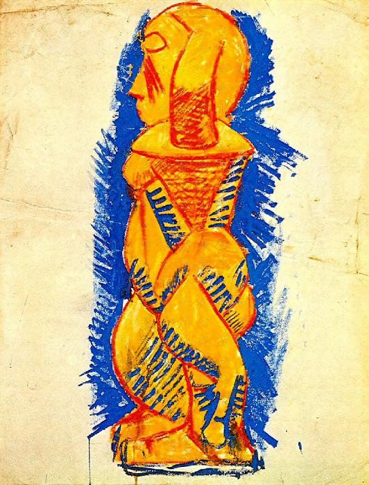 1907 Nu debout de profil. Пабло Пикассо (1881-1973) Период: 1889-1907