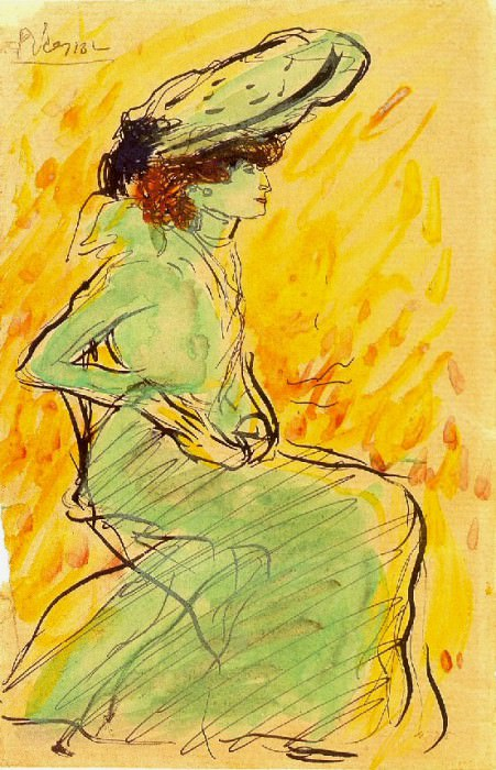 1901 Femme en robe verte assise. Pablo Picasso (1881-1973) Period of creation: 1889-1907