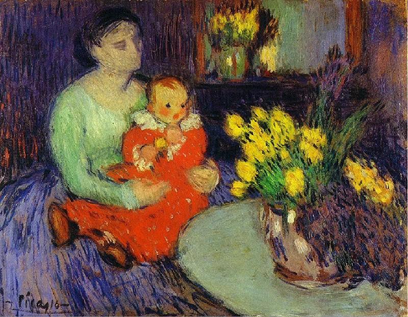 1901 MКre et enfant devant un vase de fleurs. Пабло Пикассо (1881-1973) Период: 1889-1907