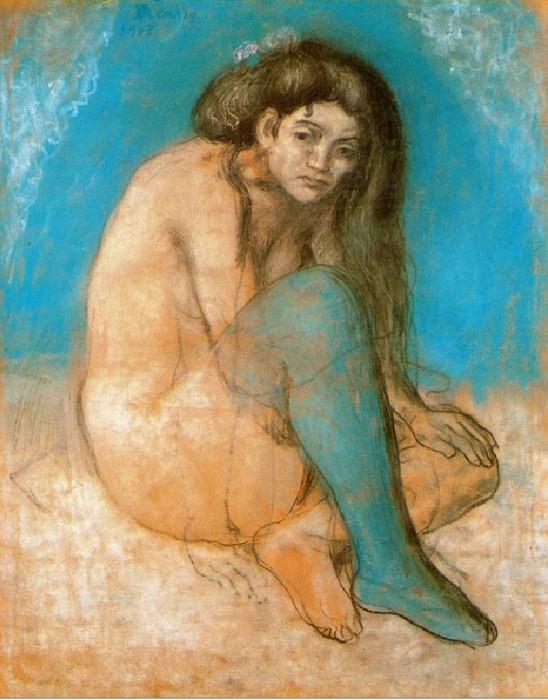 1903 Femme nue assise. Пабло Пикассо (1881-1973) Период: 1889-1907