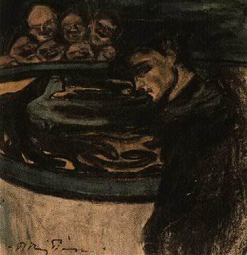 1899 AllВgorie- jeune homme, femme et grotesques. Pablo Picasso (1881-1973) Period of creation: 1889-1907