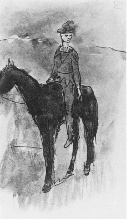 1905 Arlequin Е cheval. Пабло Пикассо (1881-1973) Период: 1889-1907 (Рtude)