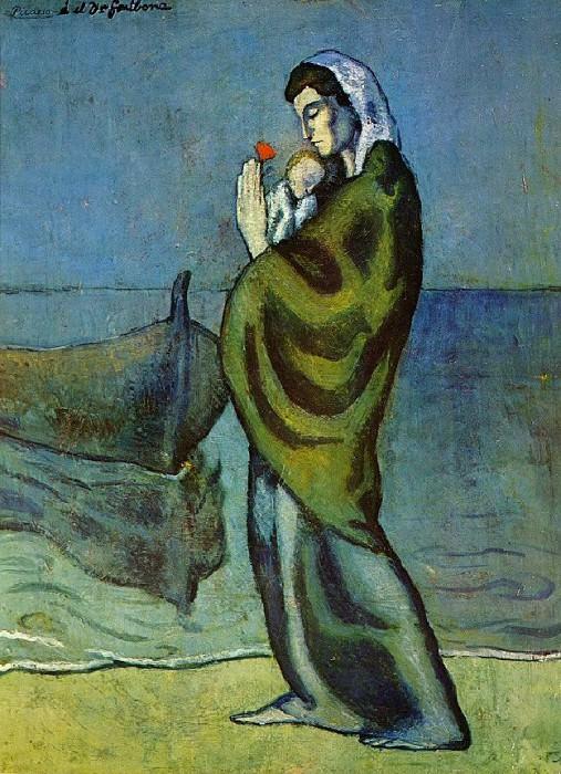 1902 MКre et enfant sur le rivage. Пабло Пикассо (1881-1973) Период: 1889-1907