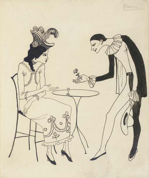 1903 Jeune femme au cafВ courtisВe par un Pierrot (LOffrande). Pablo Picasso (1881-1973) Period of creation: 1889-1907