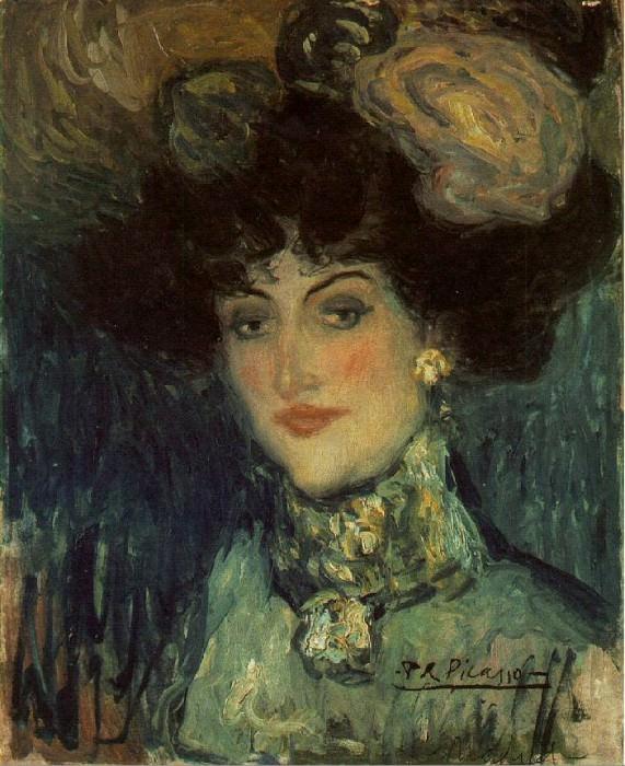 1901 Femme au chapeau Е plumes. Pablo Picasso (1881-1973) Period of creation: 1889-1907