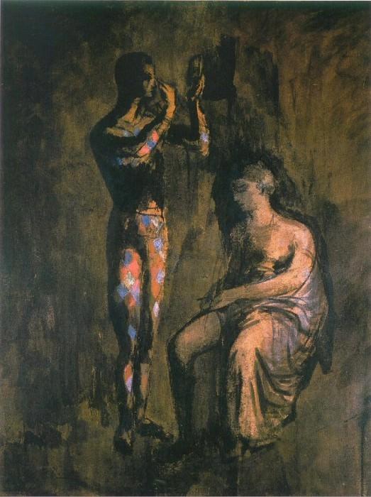 1905 Arlequin se grimant devant une femme assise. Pablo Picasso (1881-1973) Period of creation: 1889-1907