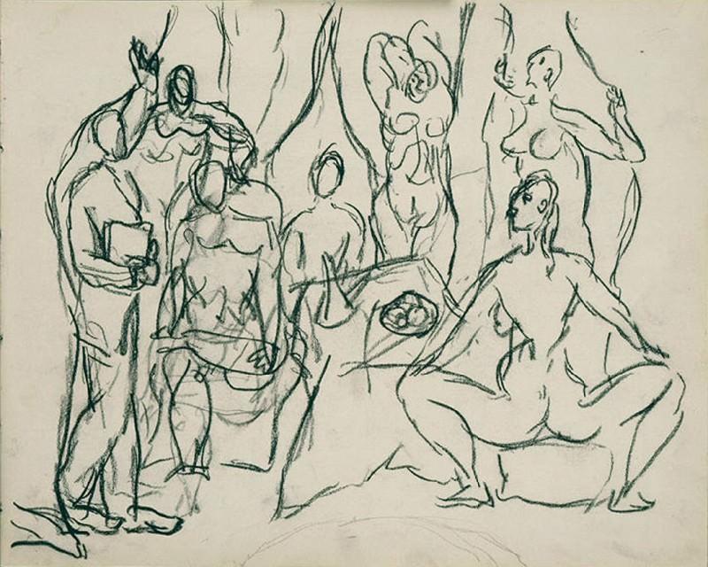 1907 Les demoiselles d - Рtude densemble Е sept personnages cinq demoiselles, lВtudiant en mВdecine et la marin. Pablo Picasso (1881-1973) Period of creation: 1889-1907
