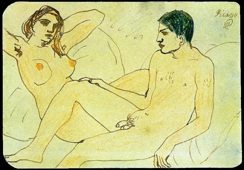 1902 Autoportrait avec nu. Pablo Picasso (1881-1973) Period of creation: 1889-1907