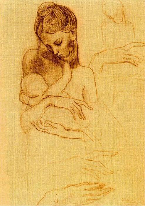 1904 MКre et enfant; Вtude de mains. Pablo Picasso (1881-1973) Period of creation: 1889-1907