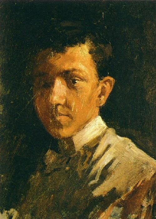 1896 Autoportrait aux cheveux courts. Пабло Пикассо (1881-1973) Период: 1889-1907