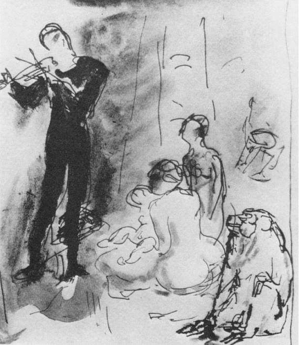 1905 Le violiniste (Famille avec singe). Pablo Picasso (1881-1973) Period of creation: 1889-1907