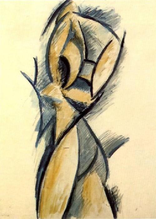 1907 Nu debout, Trois femmes. Pablo Picasso (1881-1973) Period of creation: 1889-1907 (Рtude)