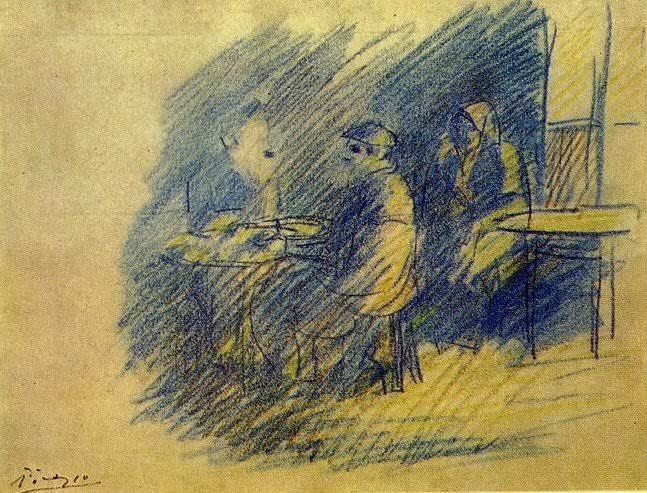 1904 Picasso et S. Junyer-Vidal assis prКs de CВlestine. Pablo Picasso (1881-1973) Period of creation: 1889-1907