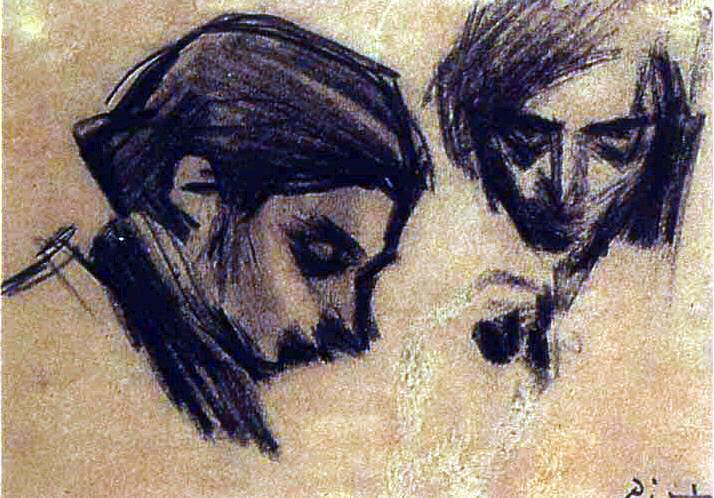 1900 Casagemas de face et de profil. Пабло Пикассо (1881-1973) Период: 1889-1907