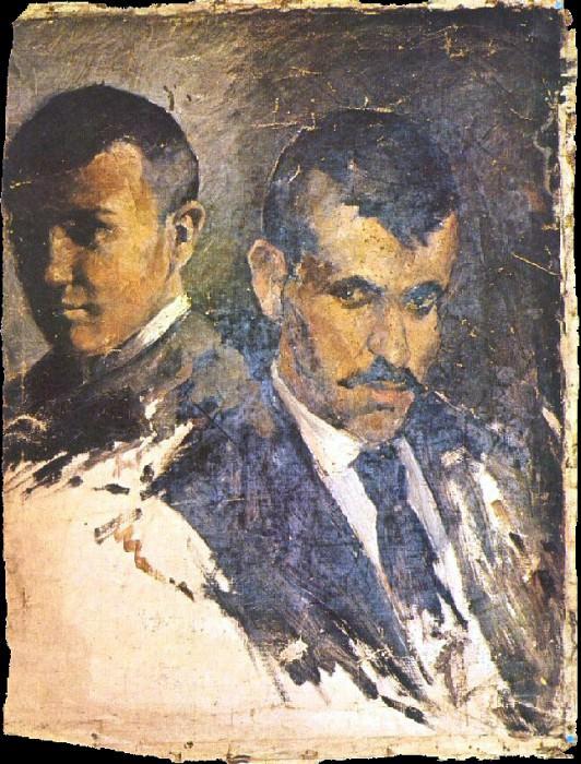 1895 Autoportrait auprКs dun parent. Pablo Picasso (1881-1973) Period of creation: 1889-1907