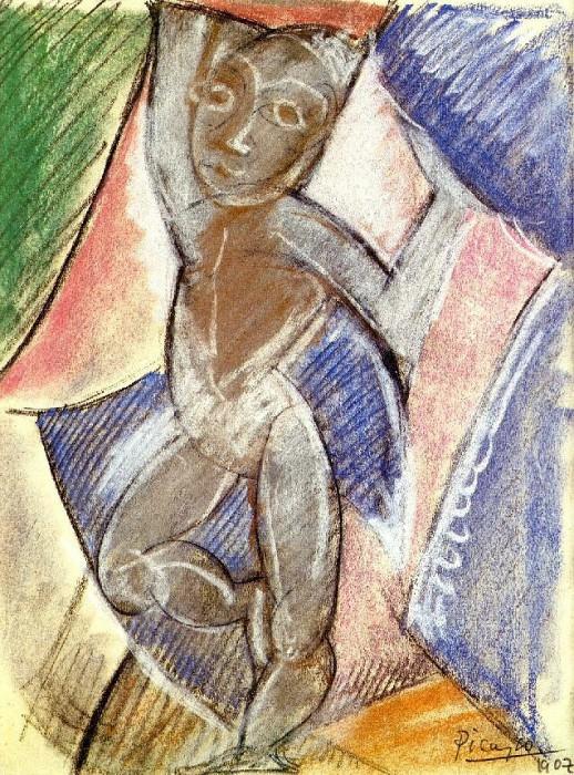 1907 Jeune garЗon nu (Nu aux bras levВs). Pablo Picasso (1881-1973) Period of creation: 1889-1907