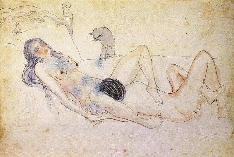 1902 Homme et femme avec un chat. Pablo Picasso (1881-1973) Period of creation: 1889-1907