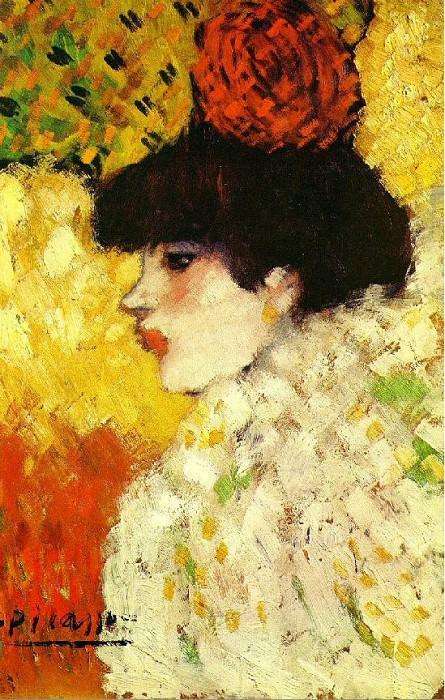1901 Profil dune jeune femme (fille avec fleur rouge). Pablo Picasso (1881-1973) Period of creation: 1889-1907