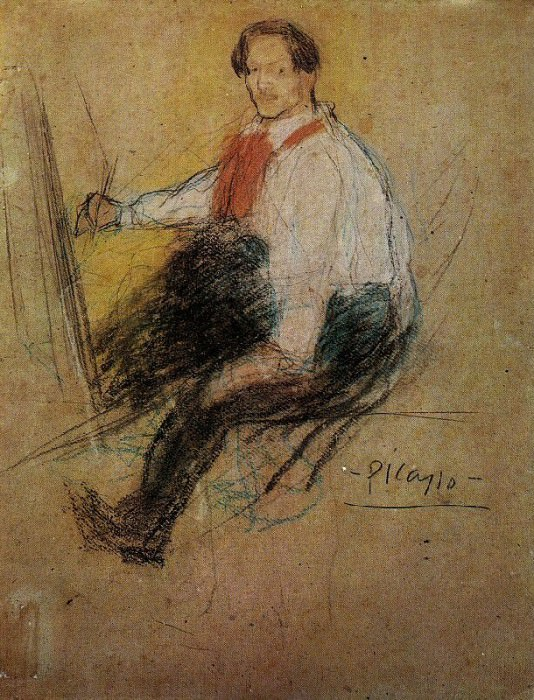 1901 Autoportrait Yo. Pablo Picasso (1881-1973) Period of creation: 1889-1907 (Рtude)