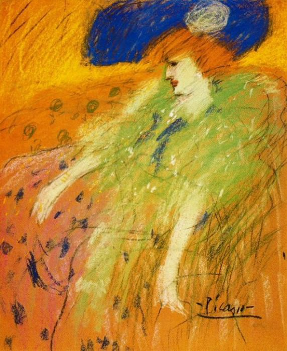 1901 Femme au chapeau bleu. Пабло Пикассо (1881-1973) Период: 1889-1907