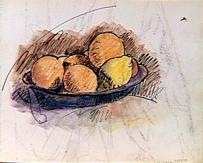 1907 Рtude pour la nature morte (fruits dans une coupe). Pablo Picasso (1881-1973) Period of creation: 1889-1907